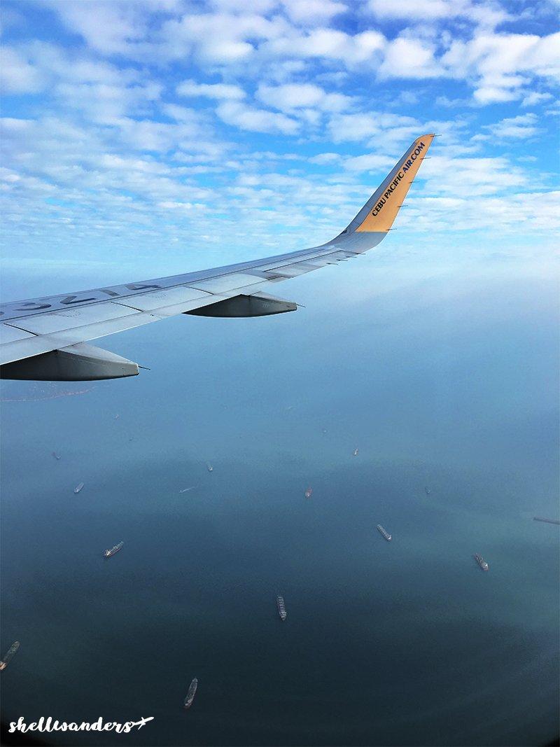 In the plane before landing in Hongkong