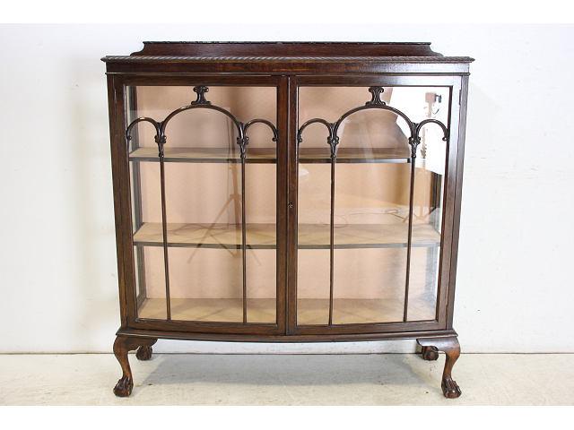 1890年代イギリス製アンティーク ビクトリアン オーク チッペンデールスタイル ディスプレイキャビネット
