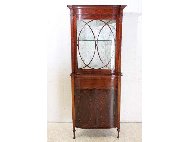 1900年代イギリス製アンティーク マホガニー エドワーディアンのコーナーキャビネット