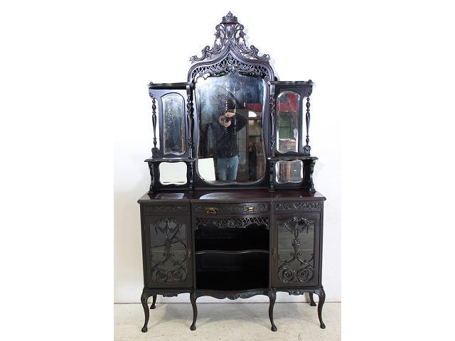 1880年代イギリス製アンティーク ビクトリアン マホガニー材のエンパイヤキャビネット