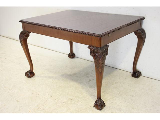 1930年代イギリス製アンティーク マホガニー チッペンデールスタイルのエクステンションテーブル