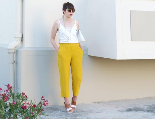 pantalon,fluide,zara, moutarde, look, blanc, dentelle, compensees,