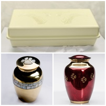 A selection of pet caskets and pet urns are available for purchase
