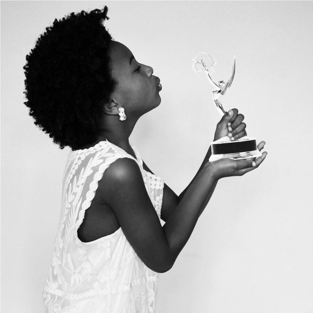Georgia as Viola Davis, first African-American performer to win Tony, Emmy and Oscar awards in acting categories.