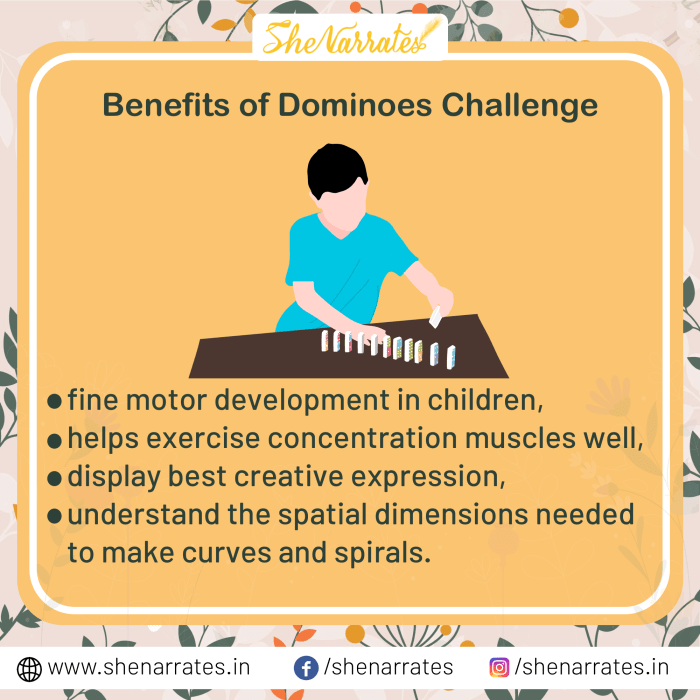 Benefits of the Dominoes Challenge- 1) It helps in fine motor development in children, 2) It helps exercise concentration muscles well, 3) It helps display best creative expression, 4) It helps understand the spatial dimensions needed to make curves and spirals.