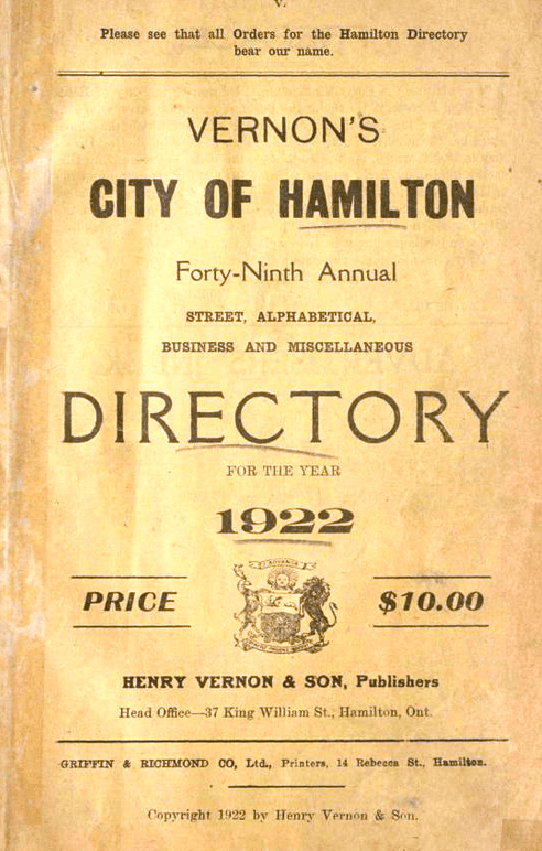 Hamilton 1922 Phone Book