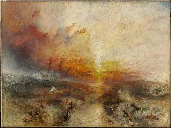 """M. W. Turner (1775–1851)  Description  Slavers throwing overboard the Dead and Dying — Typhoon coming on (""""The Slave Ship"""") Date 1840 Medium oil on canvas Dimensions 90.8 × 122.6 cm (35.7 × 48.3 in)"""