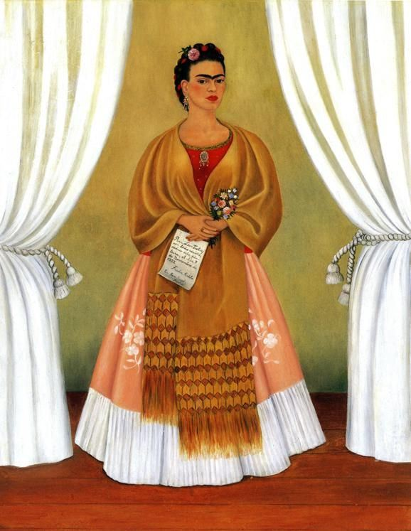 Frida Kahlo. Self-Portrait (Dedicated to Leon Trotsky). 1937. Oil on masonite. 76.2 x 61 cm. National Museum of Women in the Arts, Washington, D.C., USA.