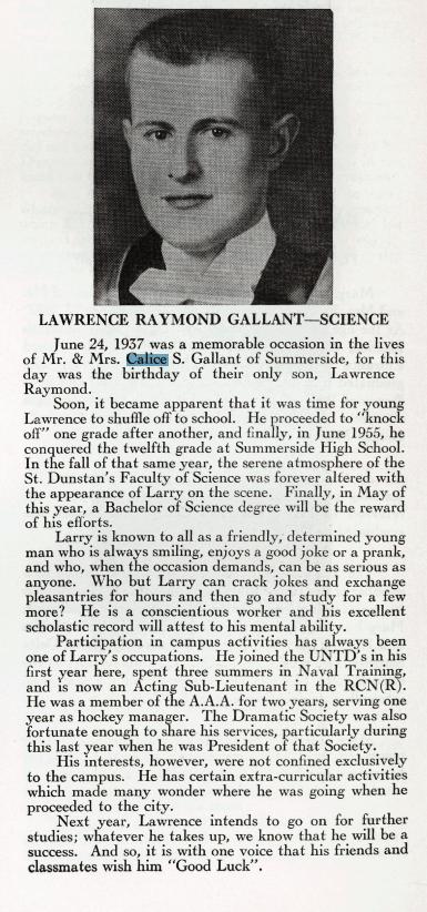 Calice Gallant's Son Lawrence Raymond Gallant