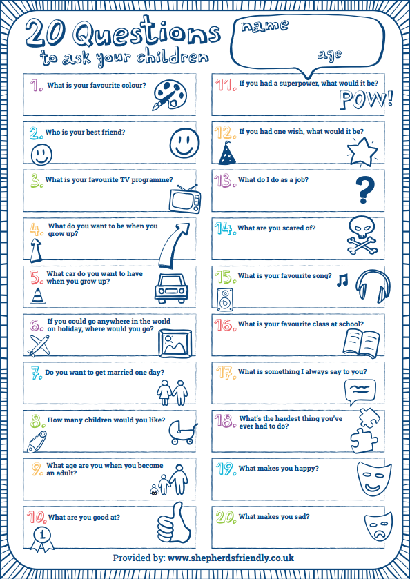20 questions to ask your kids worksheet via Shepherds Friendly