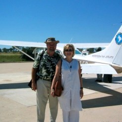 Ron & Christi, in Botswana, about to take off to another part of Africa