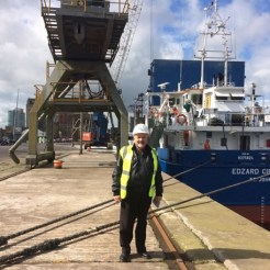 Ron ministers on Commerical ships here in Cork Harbour