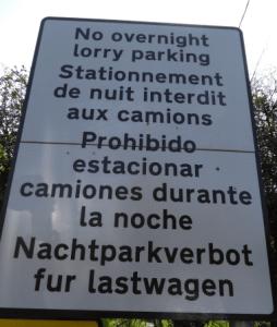 HGV No Parking Sign - Sellindge