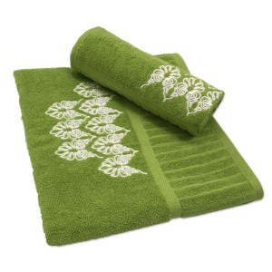 Colibri Embroidered Towel Set Joy Scroll Green