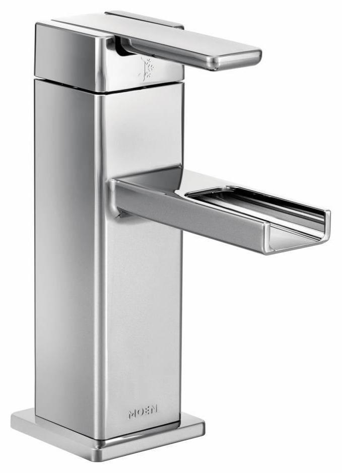90 degree single hole bathroom faucet with open trough spout