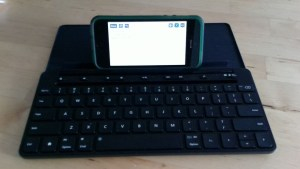 iPhone with Microsoft Universal Bluetooth Keyboard