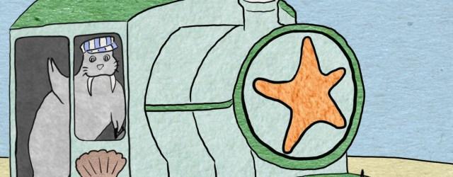 """""""Ocean Train."""" Children's illustration."""