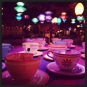 Disneyland teacup ride is empty after the earthquake. Photo courtesy of Kira Brady.