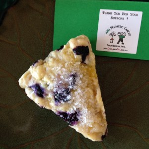 Blueberry scone+good works=great!