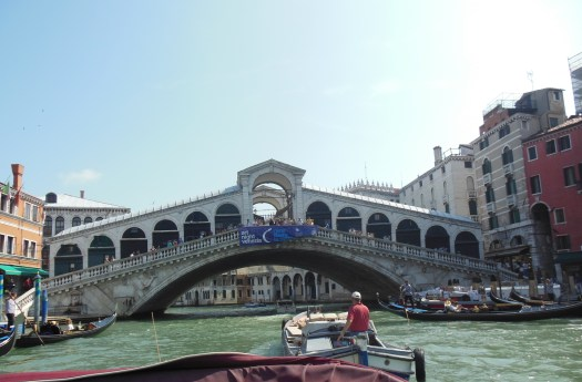 The Rialto Bridge from our water taxi