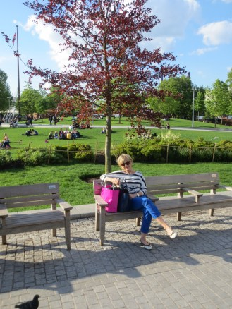 Taking a breather in the park near our Hotel in the old County Hall