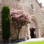 Flowers outside a church in St Maxime