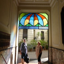 Stained glass in the entrance to the courtyard