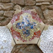Tiles along the wall leading to Gaudi house