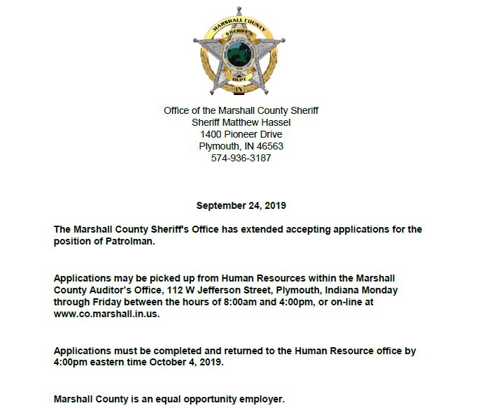 Patrolman Application Process Extended  Sheriff of Marshall County Indiana