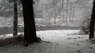 Another angle of the river when I ventured outside (see video link of falling snow in post text)