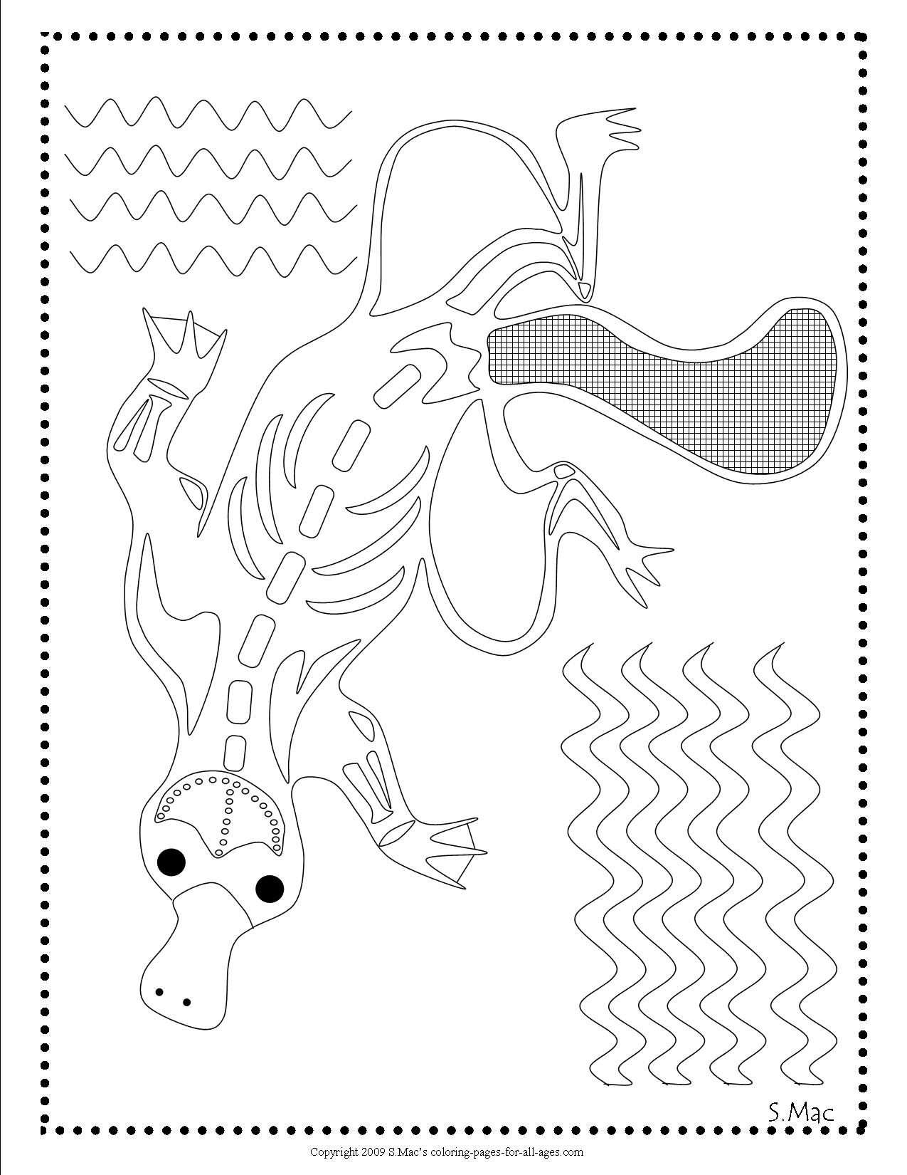 X ray art platypus coloring page by s mac