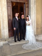 With James and Nicola after the Wedding Mass