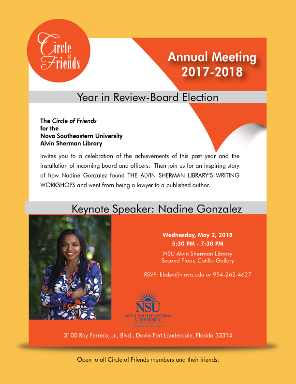 circle of friends annual meeting with keynote speaker nadine gonzalez