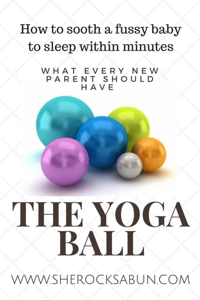 A yoga ball has several benefits and uses for all, but especially for new parents! A yoga ball is incredible for soothing a fussy baby!
