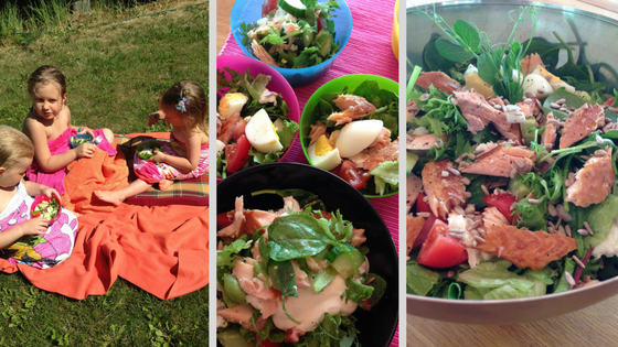 Smoked salmon salad picnic