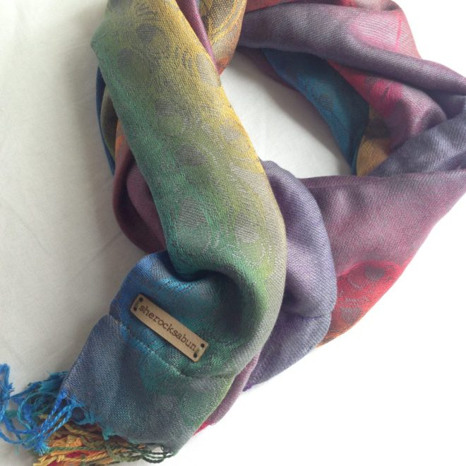 sherocksabun Thai Pashmina infinity scarf with zippered pocket, vibrant colors, jeans peacock