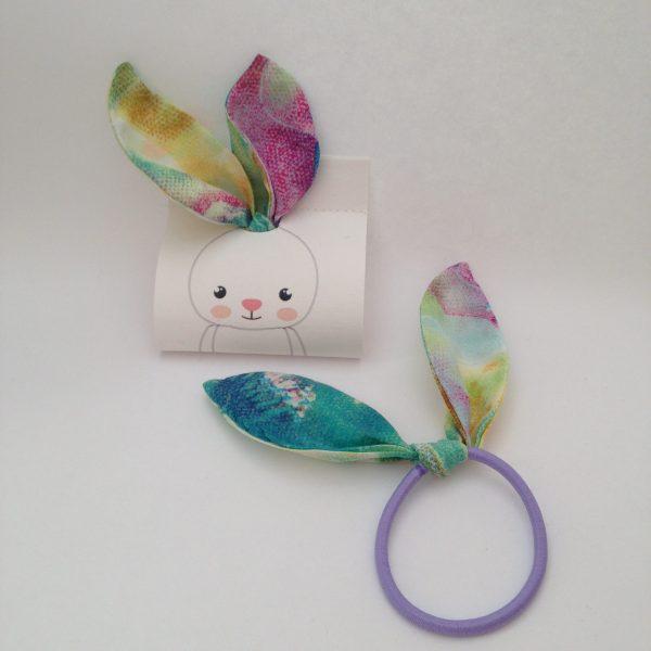 Bunny hair bow turquoise colorful, handmade by sherocksabun