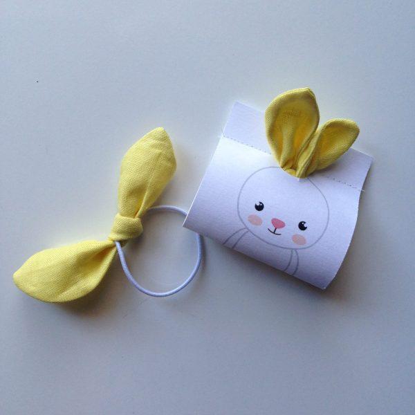 Bunny hair bow yellow, handmade by sherocksabun