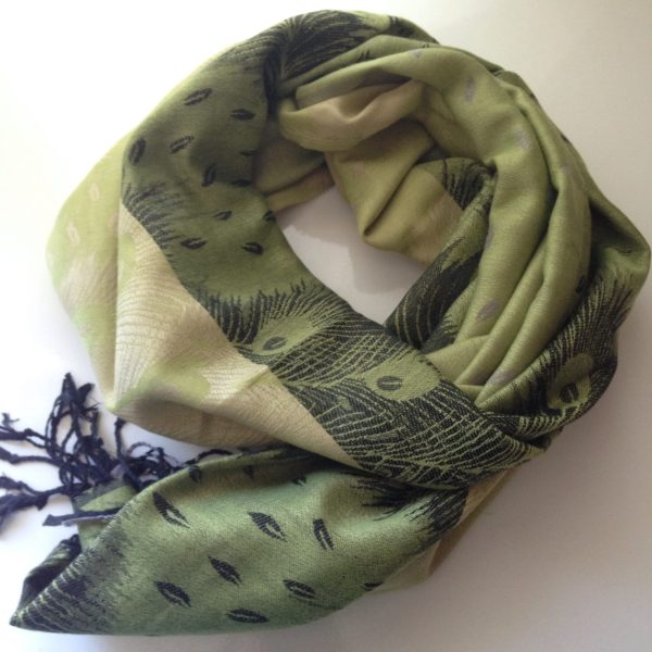 Peacock print pocket scarf Pistachio-lime by sherocksabun