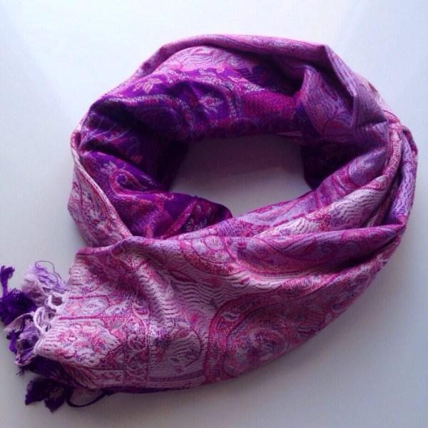 Purple pink swirls pocket scarf by sherocksabun
