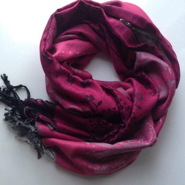 Black-grey-white florals pink pocket scarf by sherocksabun