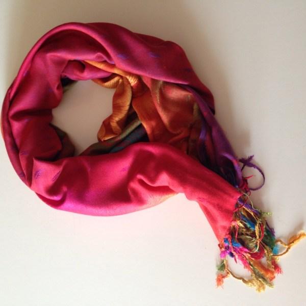 Tropical peacock orange pocket scarf by sherocksabun