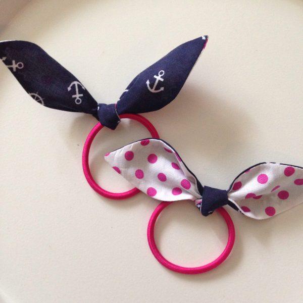 Hair tie dark blue maritime with pink polkadots by sherocksabun