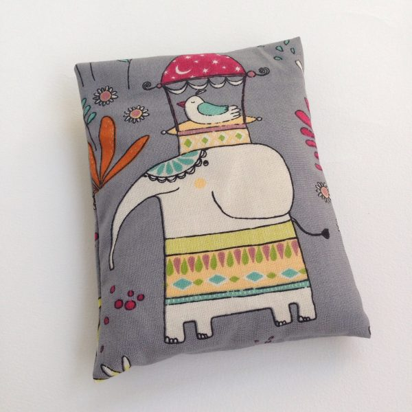 Elephant rICE pack, hot and cold pack for small bumps and bruises. Handmade in Finland by sherocksabun