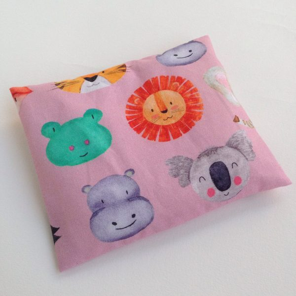 Pink animals rICE pack, hot and cold pack for small bumps and bruises. Handmade in Finland by sherocksabun
