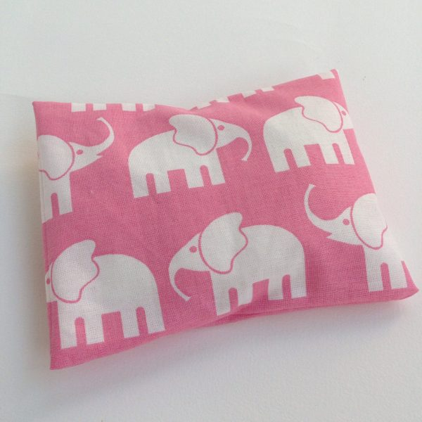 Pink elephants rICE pack, hot and cold pack for small bumps and bruises. Handmade in Finland by sherocksabun