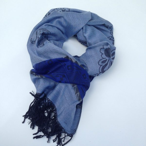 Elephant print, light jeans blue with dark blue stripe and grey and black details. Handcrafted pocket scarf by sherocksabun