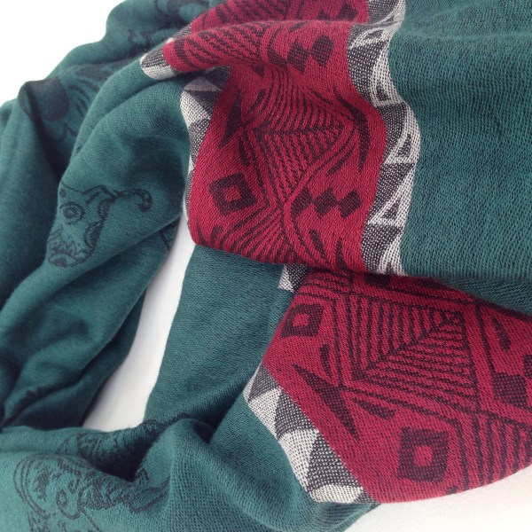 Elephant print, forest green with wine red stripe and grey details. Handcrafted pocket scarf by sherocksabun