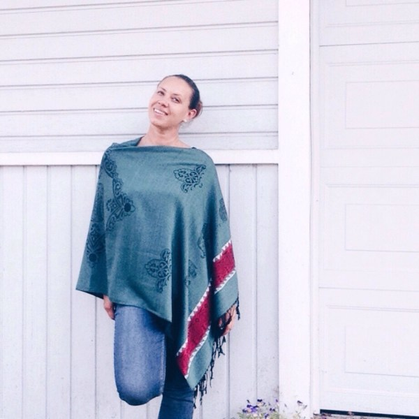 Forest green oversized poncho