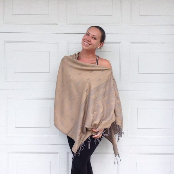 Golden sand oversized poncho with grey detail